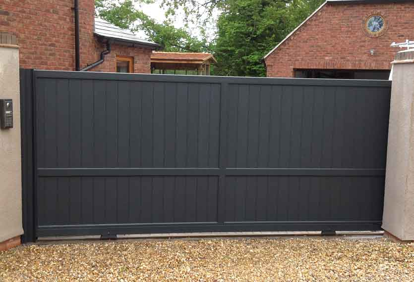 Horizal Contemporary Painted Collection - Jabal Anthracite - Aluminium Sliding Gates