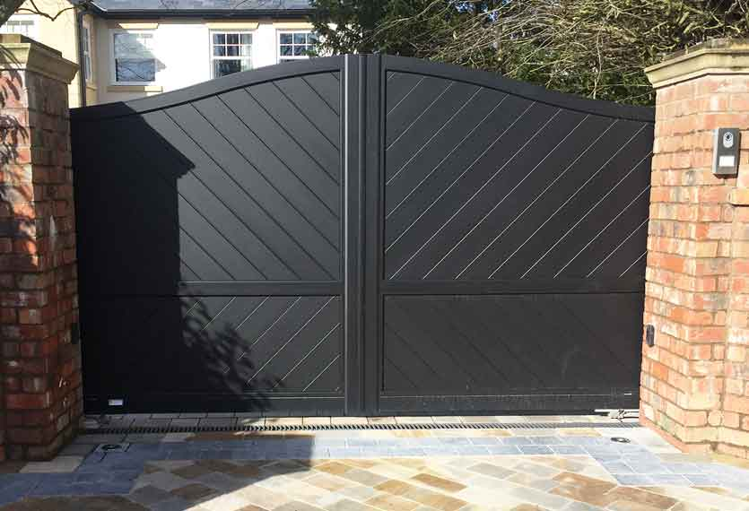 Horizal Contemporary Painted Collection - Limnos - Black Aluminium Swing Gates