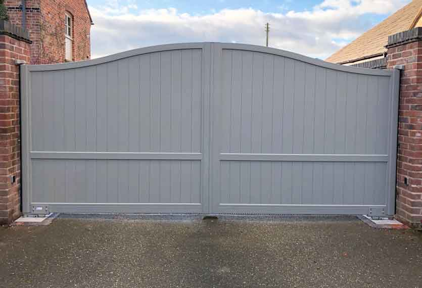 Horizal Contemporary Painted Collection - Limnos - Light Grey Aluminium Swing Gates