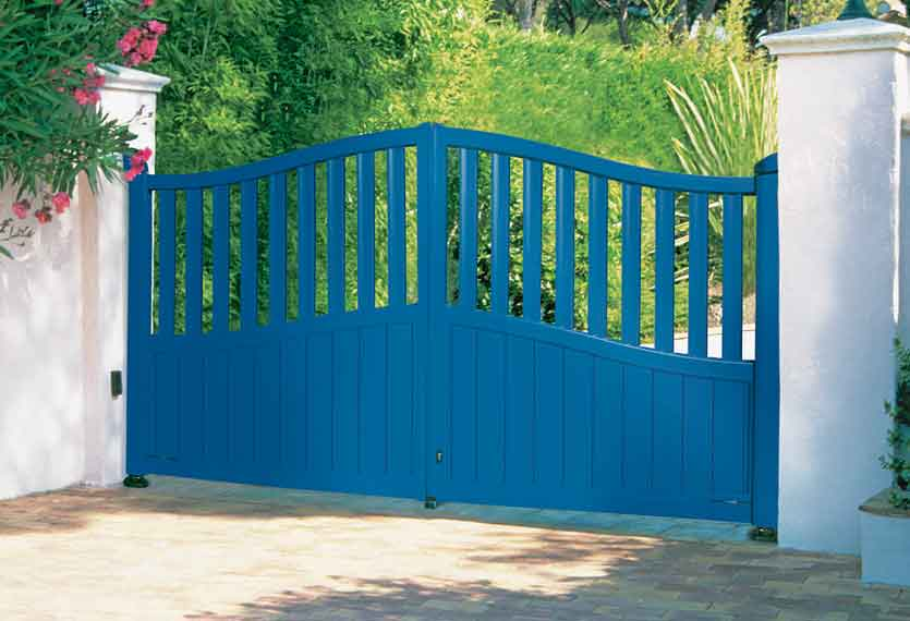 Horizal Contemporary Painted Collection - Nora - Blue Aluminium Swing Gates
