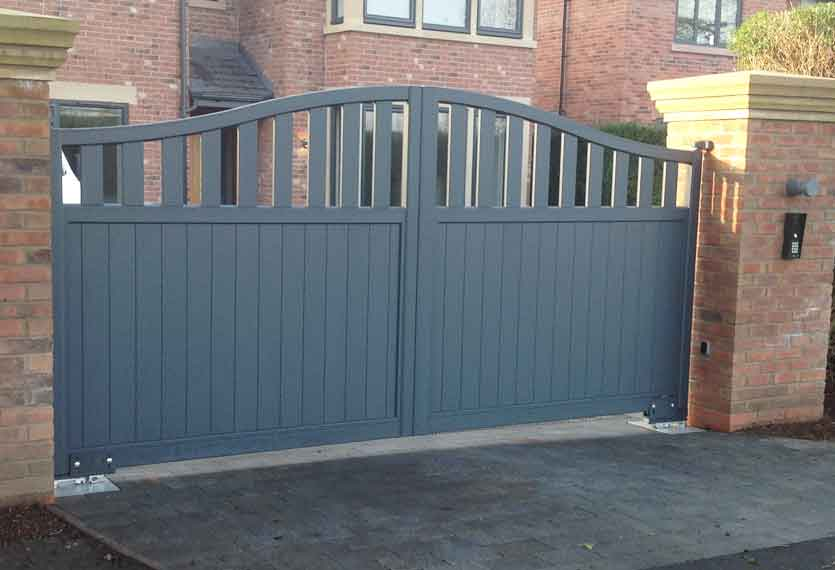 Horizal Contemporary Painted Collection - Rodrigues - Anthracite Aluminium Swing Gates