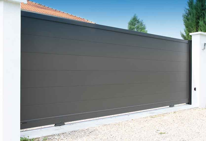 Horizal Contemporary Painted Collection - Mahe Anthracite - Aluminium Sliding Gates